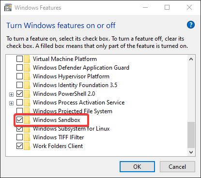 Windows features Sandbox