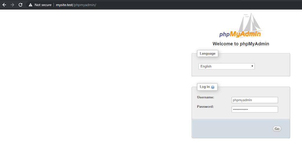 login phpmyadmin default installation