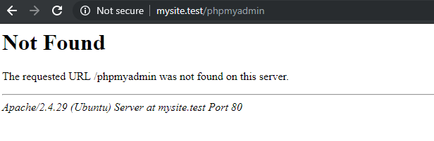 phpmyadmin access not found