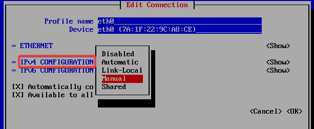 Select manual IP address in cent os 7 - anishmandal.in