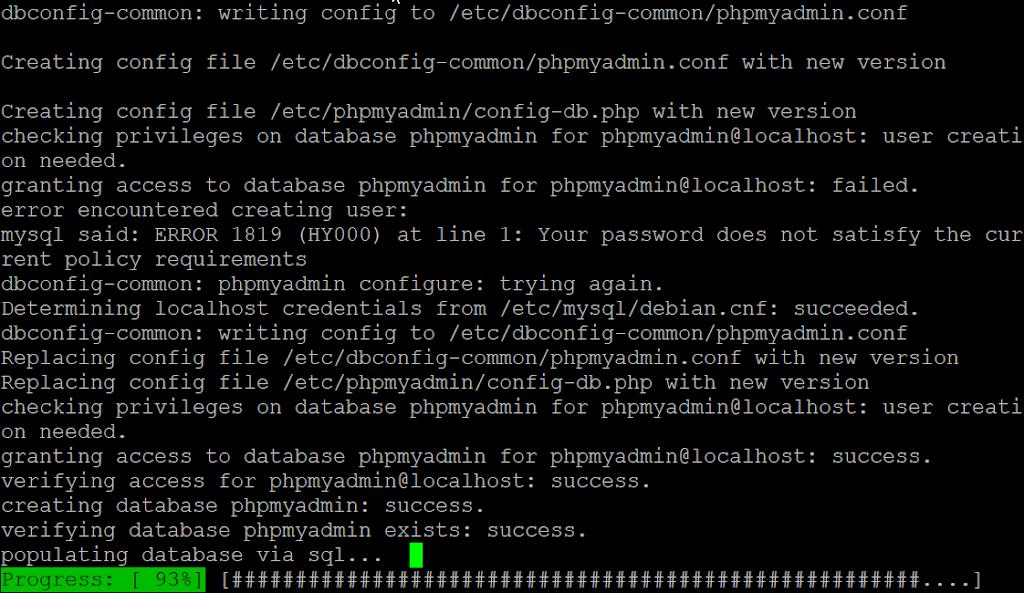 phpmyadmin installation progress
