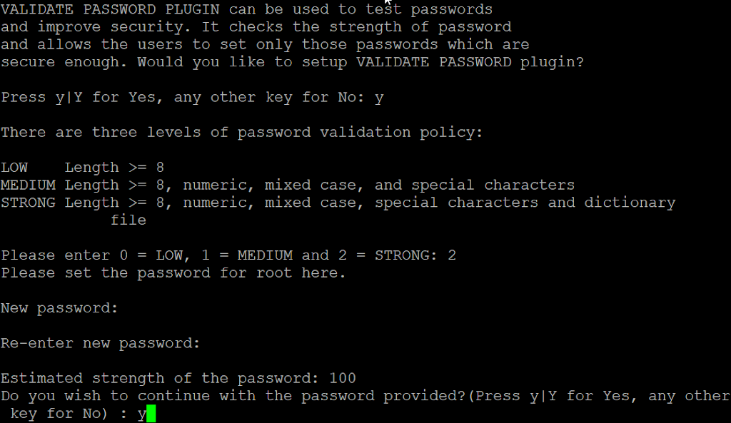 Secure installation password strength
