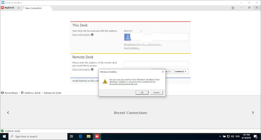 Windows sandbox Closing warning
