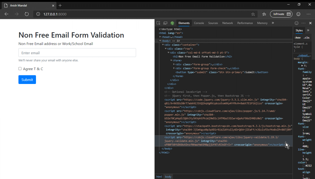 Boorstratp stater template running laravel jquery validation
