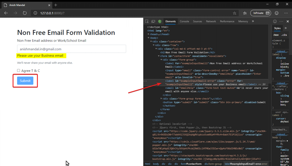 JQuery Validation fail for gmail
