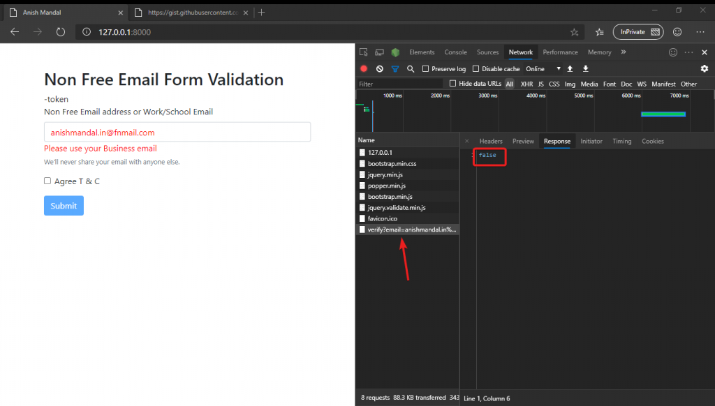 jQuery remote ajax email validation failed