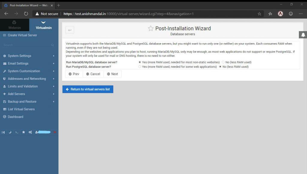 virtualmin database server