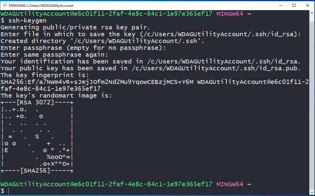 ssh genration using git bash on windows