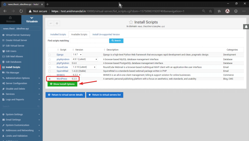virtualmin install wordpress script