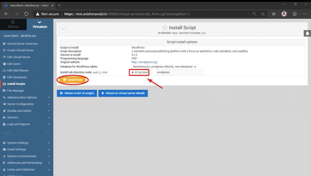 virtualmin selecting top level folder for virtualmin installation