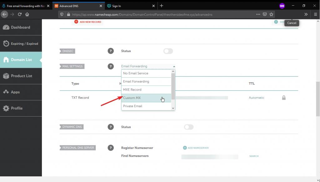 NameCheap advance DNS Setting add MX Record