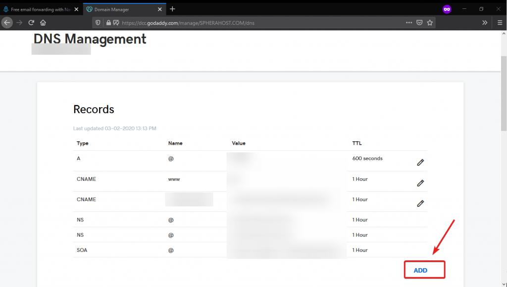 Adding DNS or MX record in godaddy