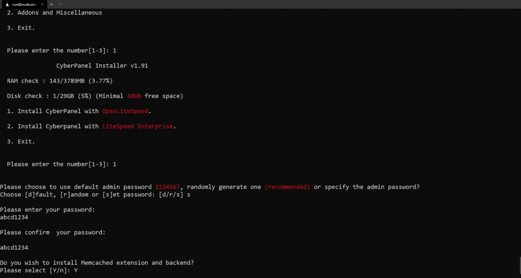 CyberPanel MemCache extension