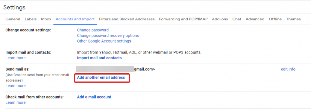 adding another secondery email in gmail