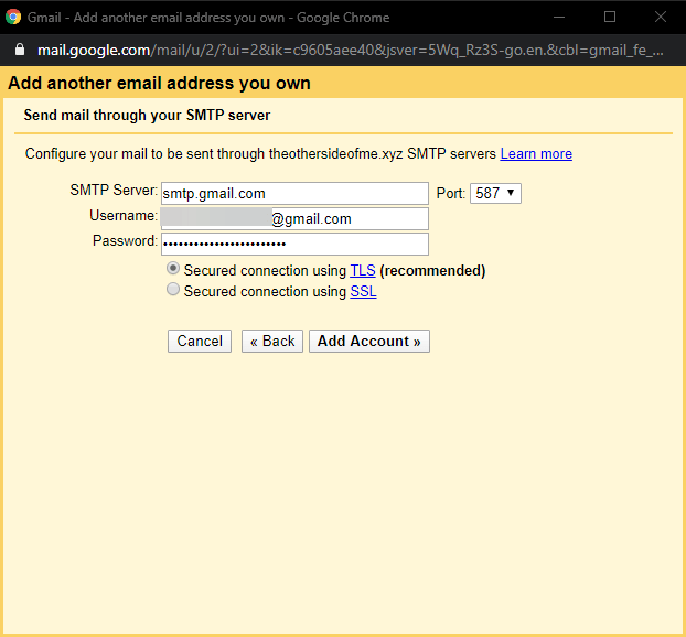 gmail smtp server configuration