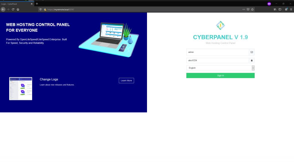 CyberPanel admin login