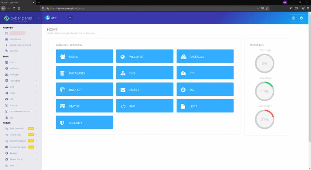 CyberPanel browser admin dashboard