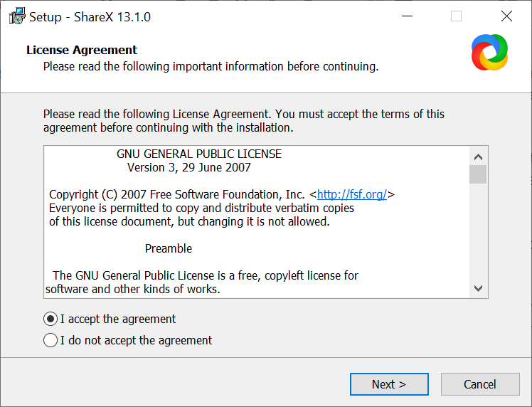 ShareX accept GNU License