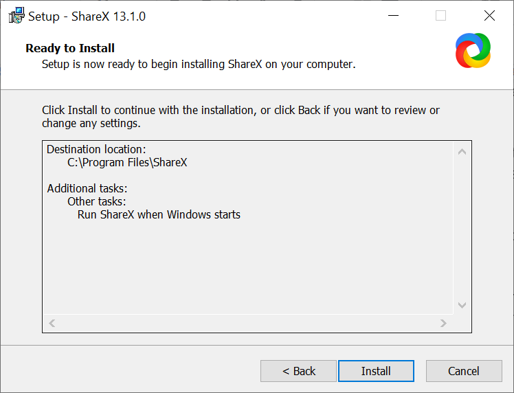 ShareX Install windows