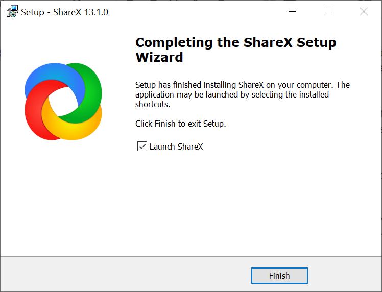 ShareX Installation Finish Window