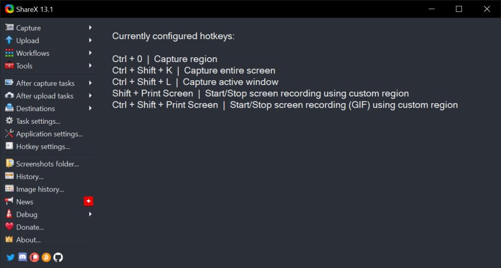 ShareX Custom Main Windows