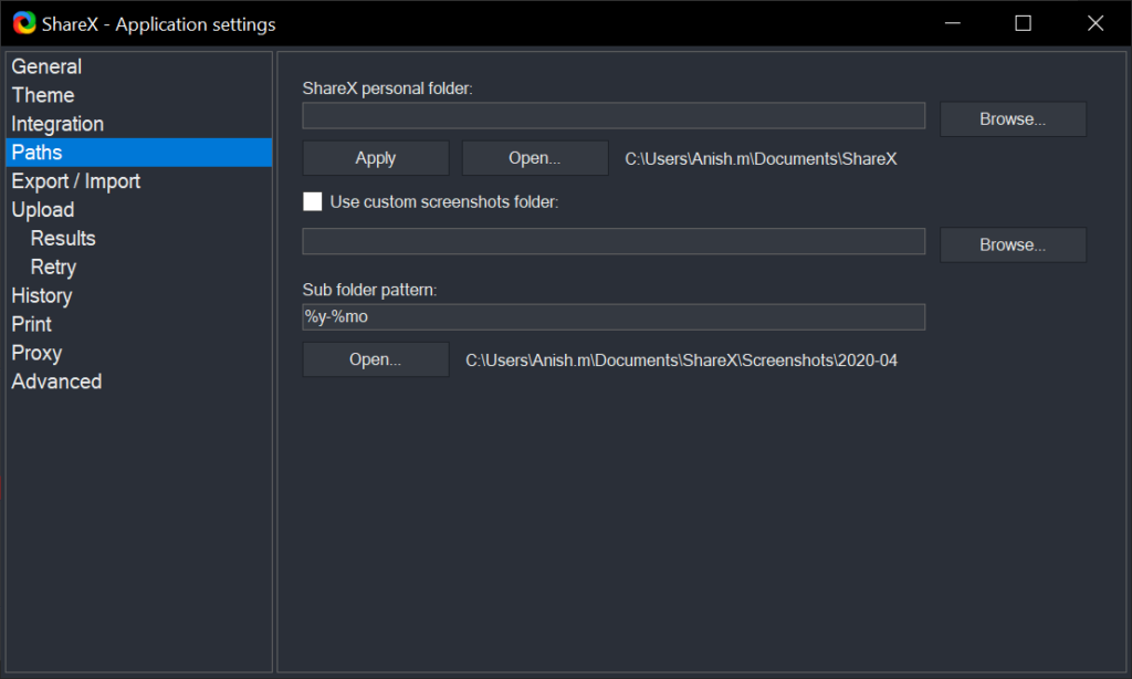 ShareX Application setting Path Selection