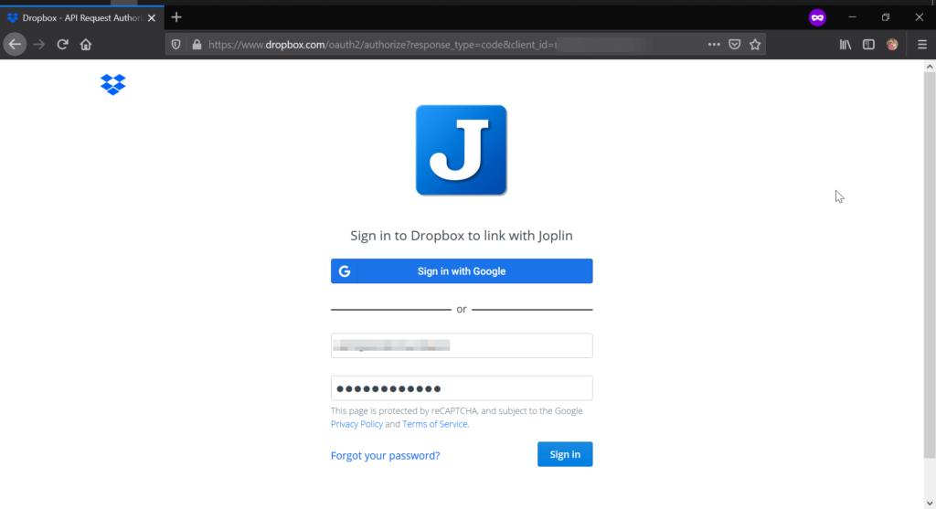 Joplin Dropbox App Login