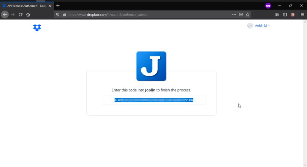 Joplin Dropbox App Token Key