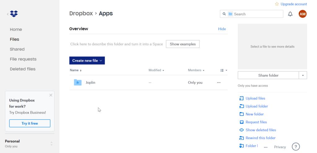 Joplin App Folder in Dropbox