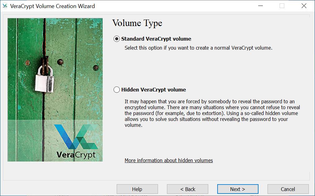Selecting Standard Volume in VeraCrypt