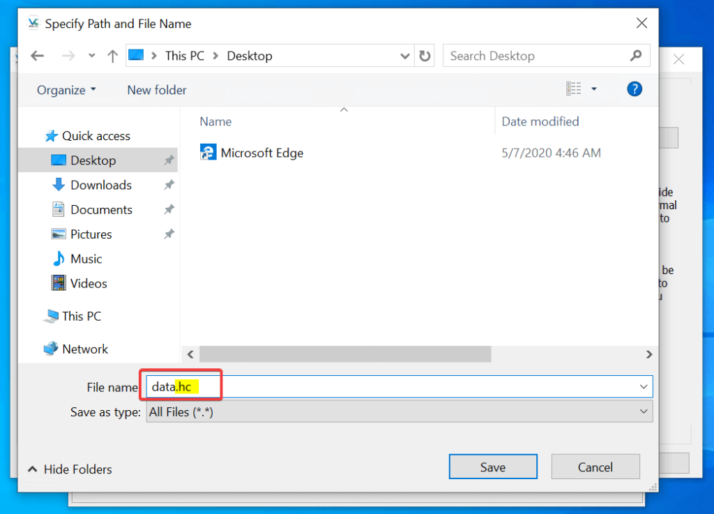 Creating volume file VeraCrypt