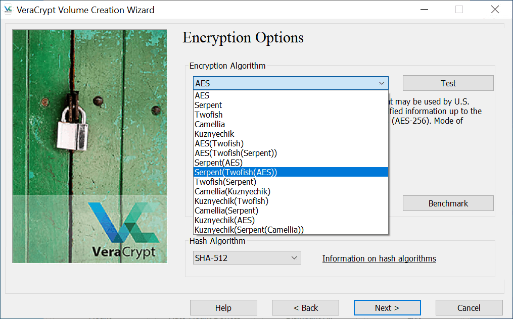 Selecting Encryption in VeraCrypt