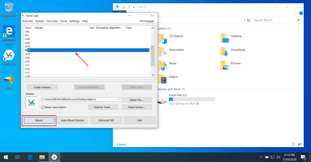 Selecting Drive Letter in VeraCrypt