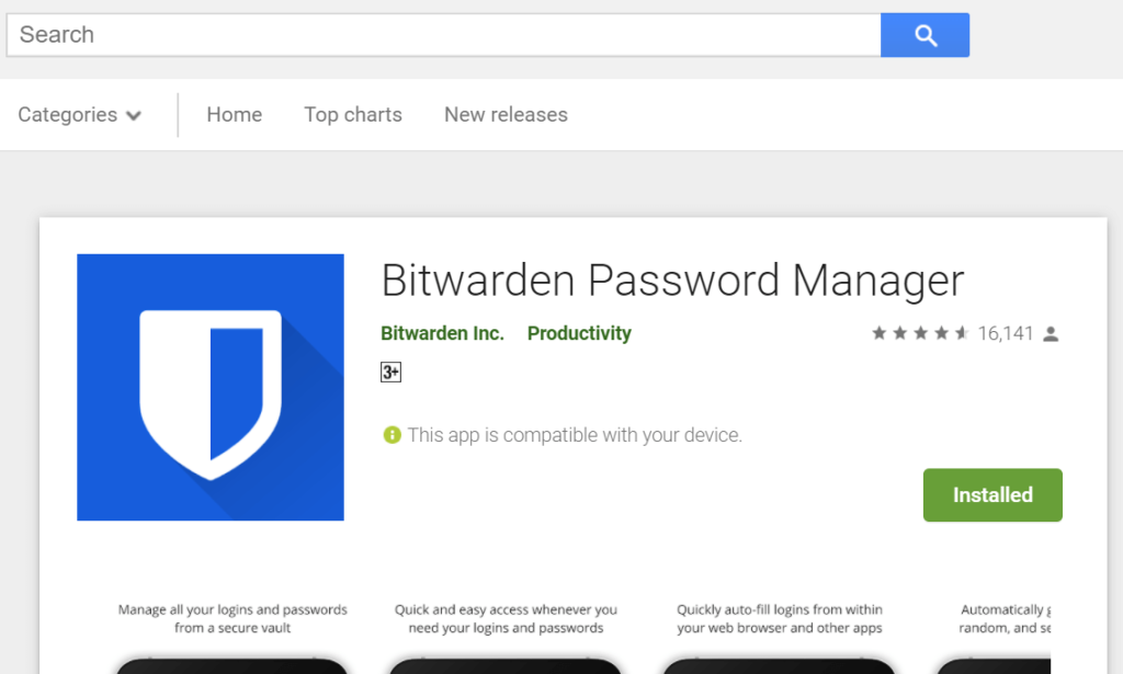 Bitwarden Mobile application