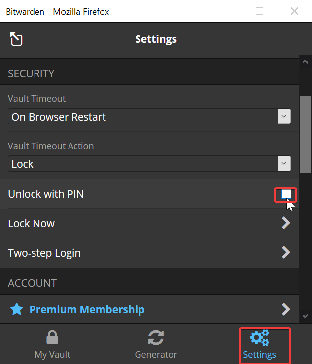 Bitwarden Browser Extension Pin Unlock