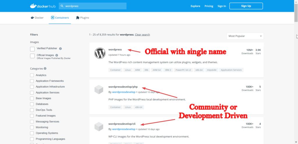 Docker Hub Search wordpress