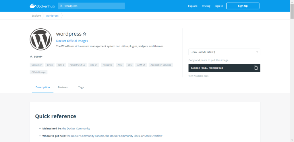 Docker Hub WordPress Official