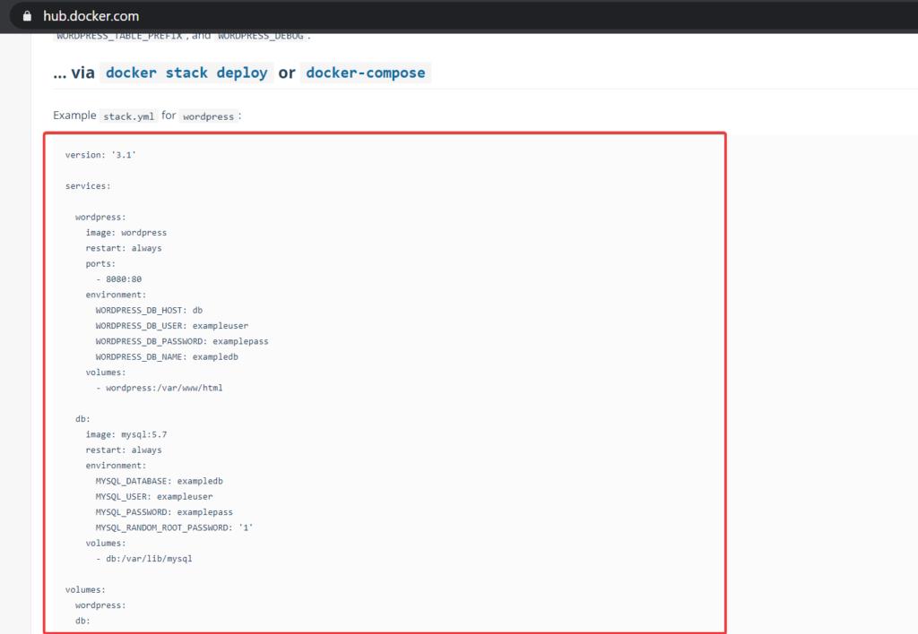 Docker yml config for wordpress