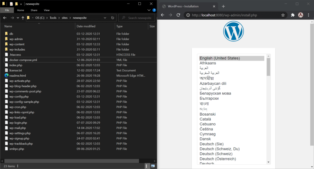 Docker wordpress container and web server