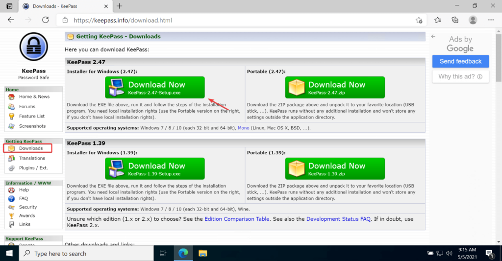 KeePass Password Manager website to download