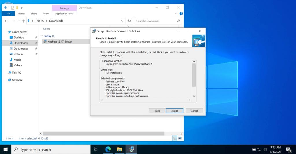 KeePass Password Manager website to Setup install