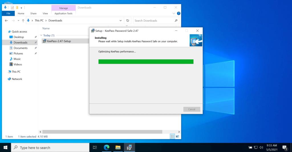 KeePass Password Manager website to Setup installation Screen