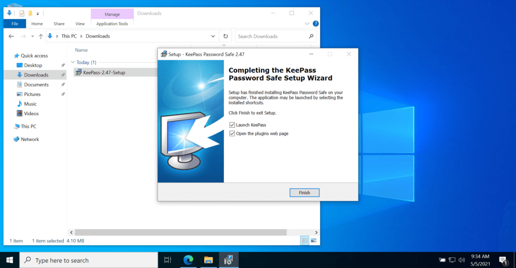 KeePass Password Manager website to Setup installation Complete