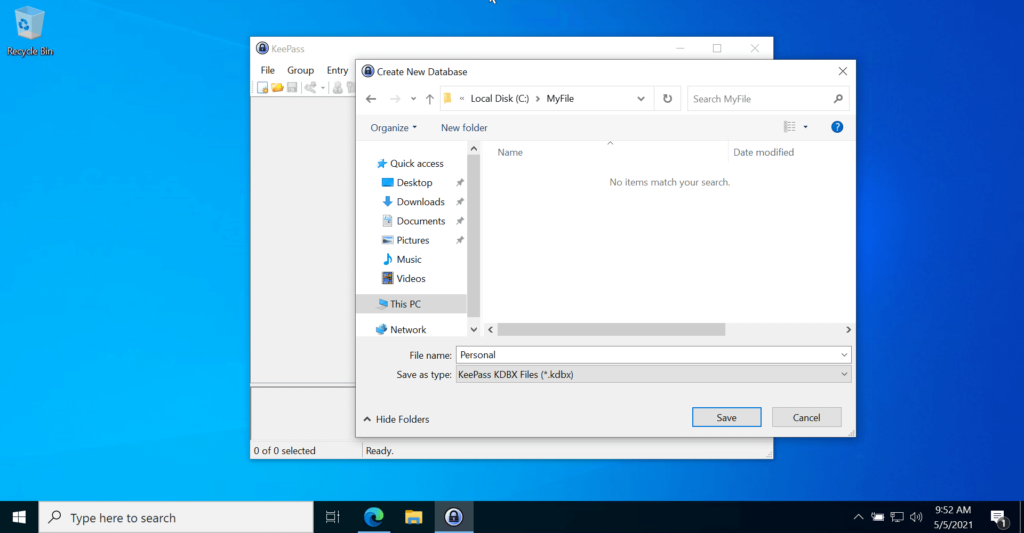 KeePass Password Manager Application New Database Location