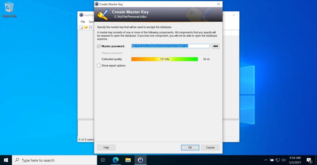 KeePass Password Manager Application New Database Masterpassword