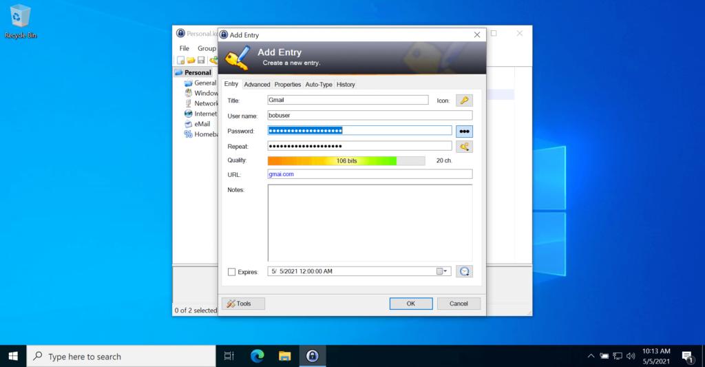 KeePass Password Manager Application Add Details
